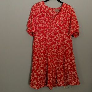 ASOS Red Tiny Flowered Mid-length Dress - US10